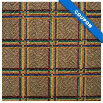 Coupon 50x68 cm - Simili cuir taupe motif tartan multicolore