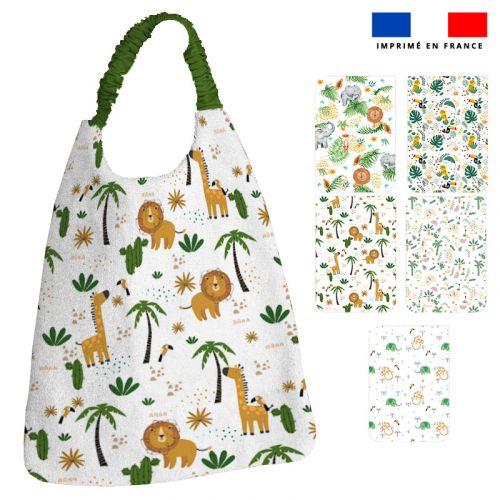 Lot de 5 coupons éponge pour serviettes de table pour enfant motif jungle