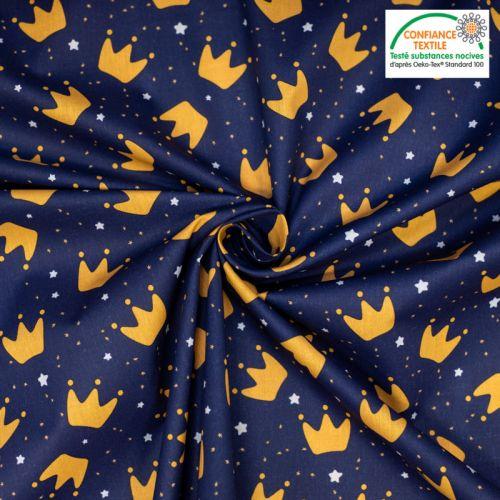 Coton bleu nuit motif couronne et étoiles Le Petit Prince Oeko-tex
