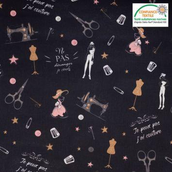 Coton noir motif atelier de couture rose gold