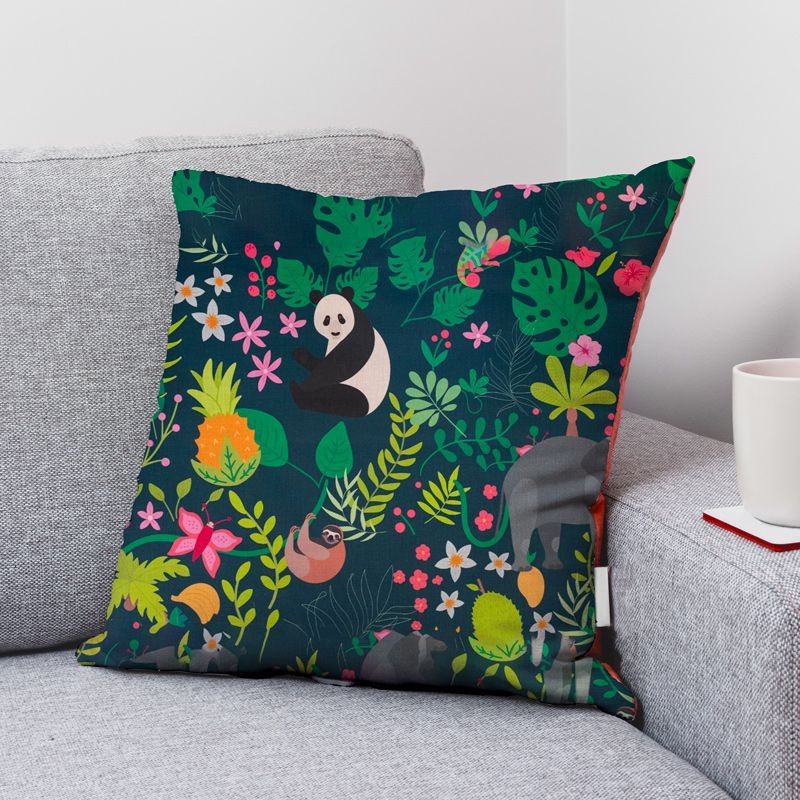 Coton bleu pétrole motif fleur rose et panda idara Oeko-tex
