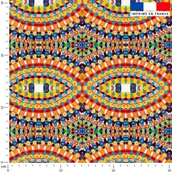 Arcs de cercles de petits ronds jaunes oranges bleues - Création Lita Blanc