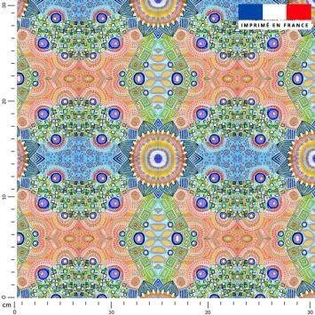 Rosaces géométriques - Fond multicolore - Création Lita Blanc