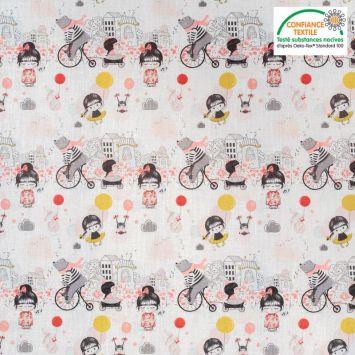 Coton blanc motif fillette et animaux Oeko-tex