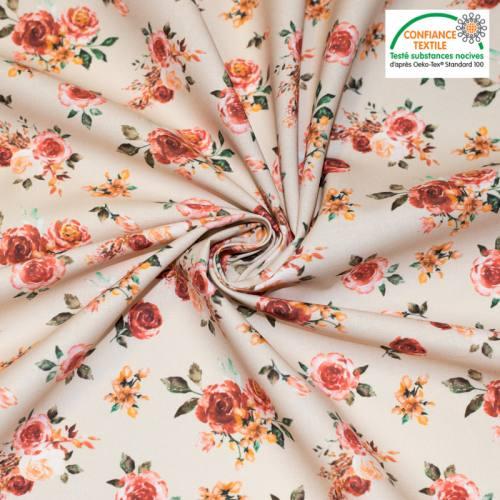coupon - Coupon 25cm - Coton bio beige motif rosiers roses
