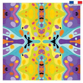 Coupon 45x45 cm jaune motif summer violet - Création Lita Blanc