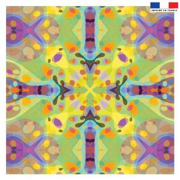 Coupon 45x45 cm vert motif summer violet - Création Lita Blanc