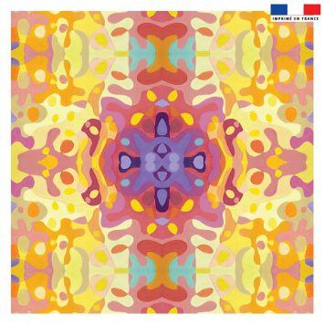 Coupon 45x45 cm jaune motif summer rose - Création Lita Blanc