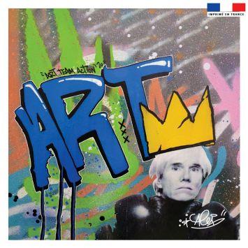 Coupon 45x45 cm bleu motif graffiti art team action - Création Alex Z