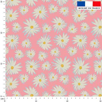 Tissu imperméable rose motif marguerite - Création Julia Amorós