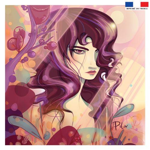 Coupon 45x45 cm rosé motif fille dessin - Création Pilar Berrio