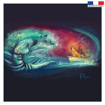 Coupon 45x45 cm bleu motif odyssée - Création Pilar Berrio