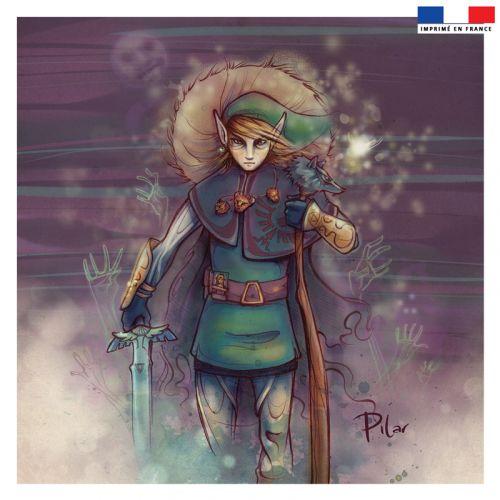 Coupon 45x45 cm violet motif aventurier japonais - Création Pilar Berrio