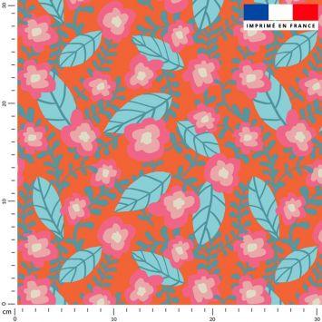 Fleur rose - Fond orange - Création Julia Amorós