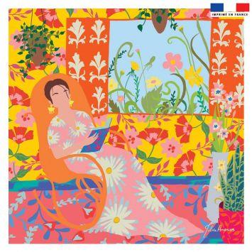 Coupon 45x45 cm jaune motif lecture fleurie - Création Julia Amorós