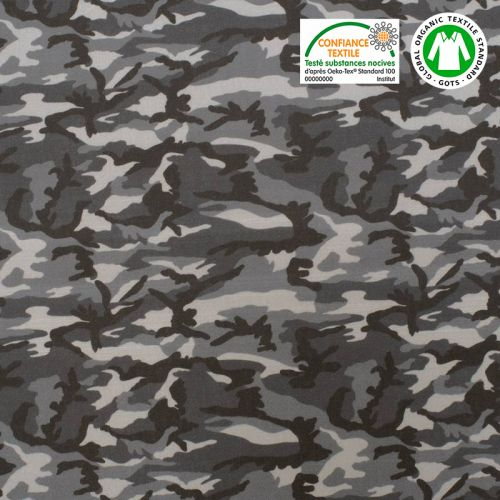 Coton bio gris imprimé camouflage Oeko-tex