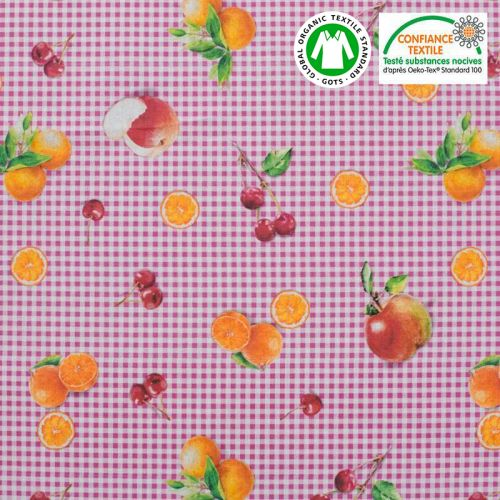 Coton bio vichy rose motif fruits Oeko-tex