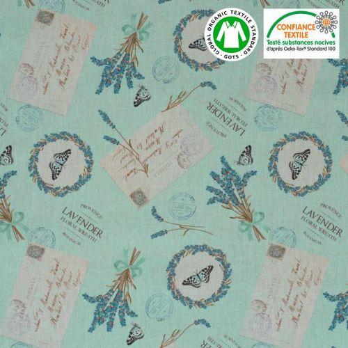 Coton bio bleu motif lavande de Provence Oeko-tex