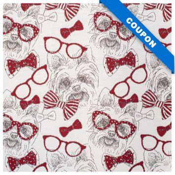Coupon 50x68 cm - Tissu jacquard motif yorkshire rouge et blanc