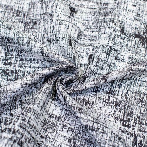 Coupon 50x68 - Tissu jacquard noir blanc et argent chiné