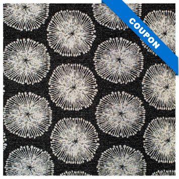 Coupon 50x68 - Tissu jacquard noir motif pissenlit blanc et or