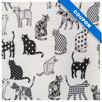 Coupon 50x68 cm - Tissu jacquard noir motif chat