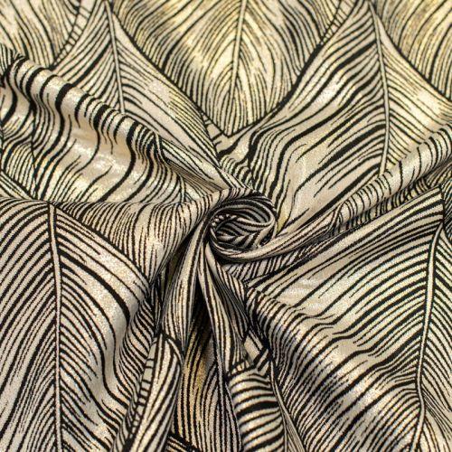 Coupon 50x68 cm - Tissu jacquard noir réversible motif feuille de palmier avec fil lurex doré