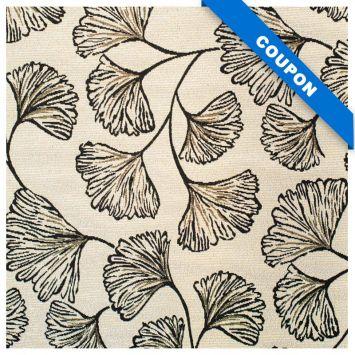Coupon 50x68 cm - Tissu jacquard nude réversible motif ginkgo noir lurex doré