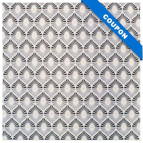 Coupon 50x68cm - Tissu jacquard noir motif goutte d'eau blanc et or