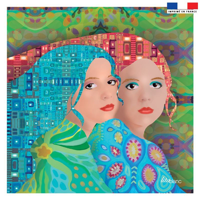 Coupon 45x45 cm multicolore motif femmes- Création Lita Blanc