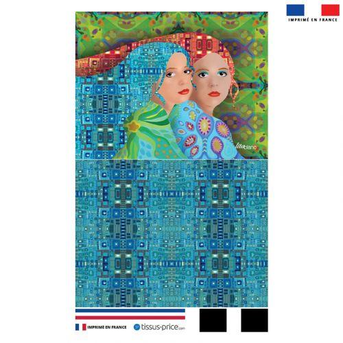Kit pochette motif femme et géométrie - Création Lita Blanc