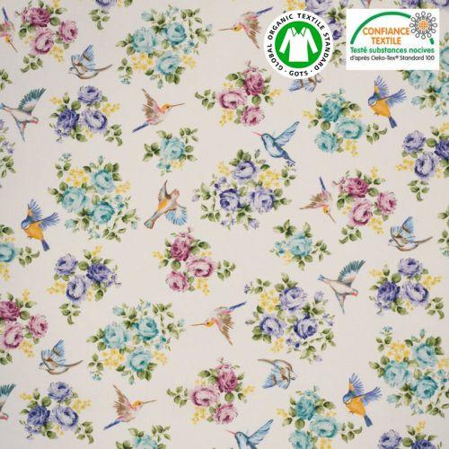 Coton bio écru motif petit oiseau et roses colorées Oeko-tex