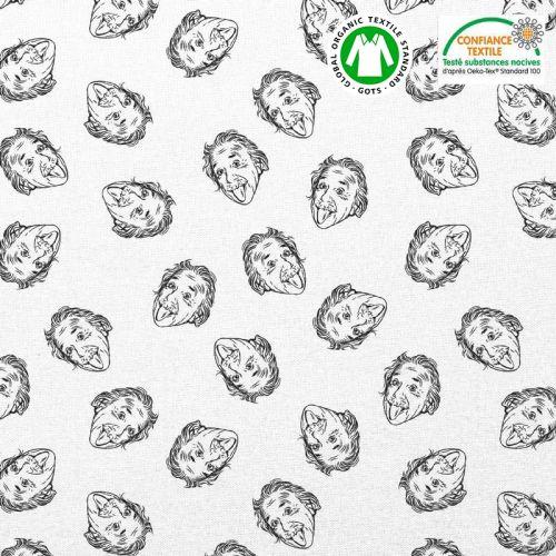 Coton bio blanc motif einstein Oeko-tex