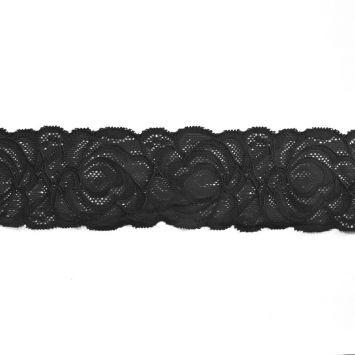 Dentelle élastique à fleurs noir 60mm