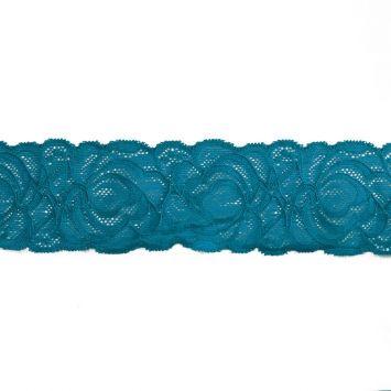 Dentelle élastique à fleurs bleu canard 60mm