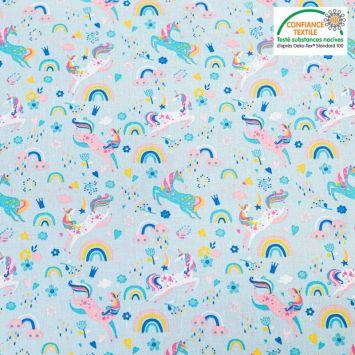 Popeline de coton bleu motif licorne et fleurs Oeko-tex