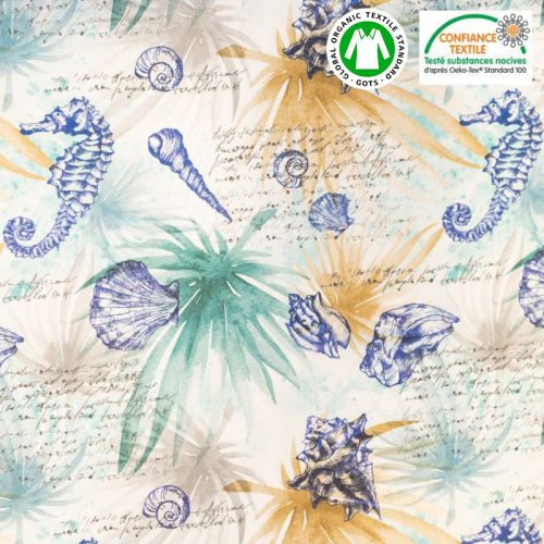 Coton bio vert motif marin effet aquarelle Oeko-tex