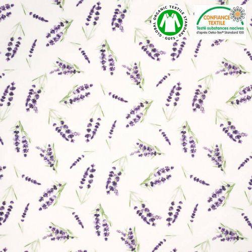 Coton bio blanc motif lavande Oeko-tex