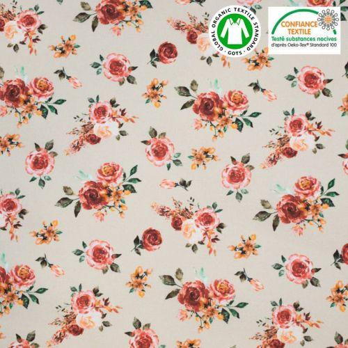 Coton bio beige motif rosiers roses Oeko-tex