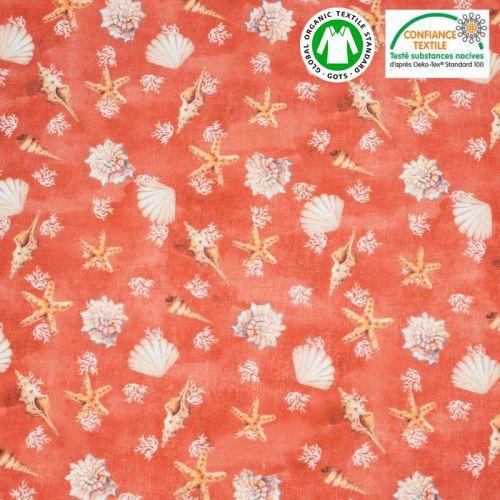 Coton bio rouge capucine motif coquillages Oeko-tex