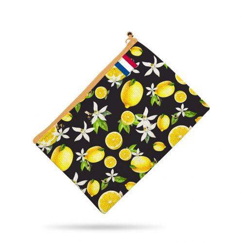 Kit pochette noir motif citron