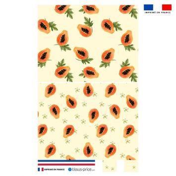 Kit pochette beige motif papaye