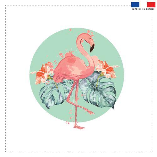 Coupon 45x45 cm motif flamant rose et feuille