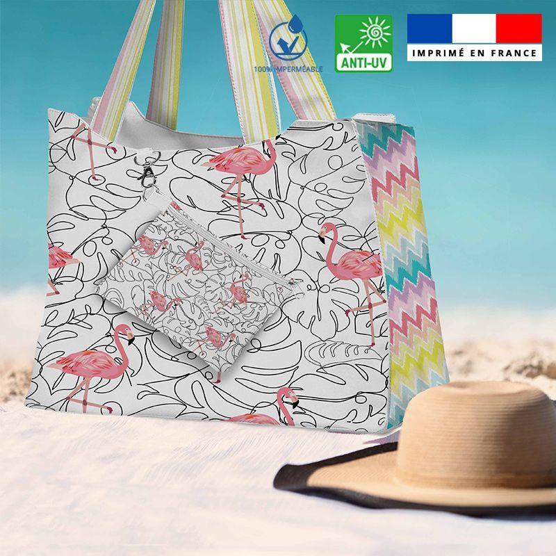 Kit sac de plage imperméable motif flamant rose - Queen size