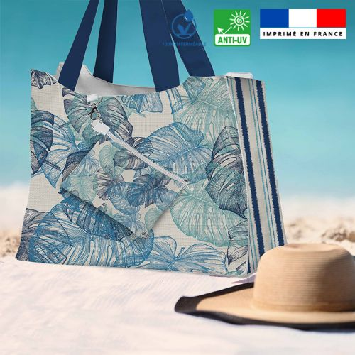 Kit sac de plage imperméable motif feuille de monstera - Queen size