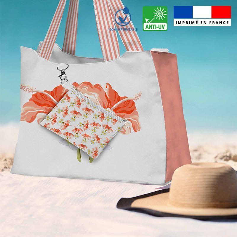 Kit sac de plage imperméable motif fleur d'hibiscus - Queen size