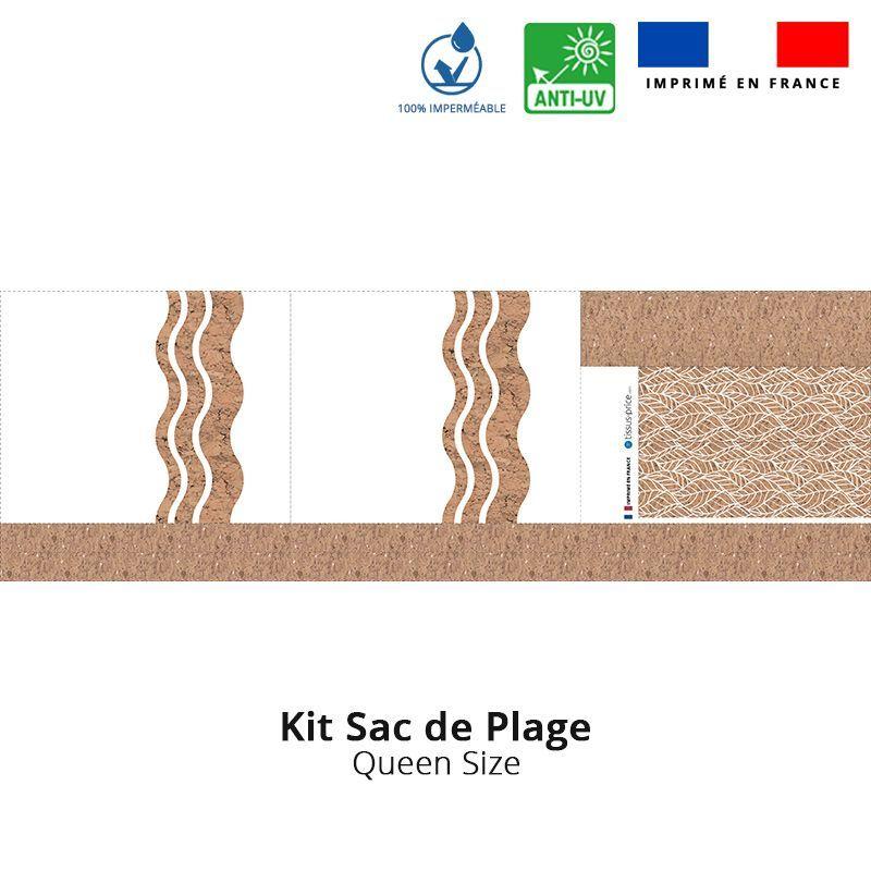Kit sac de plage imperméable motif wave effet liège - Queen size