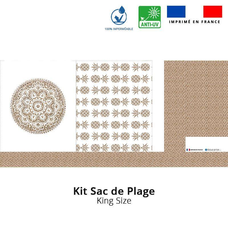 Kit sac de plage imperméable motif mandala effet rotin - King size