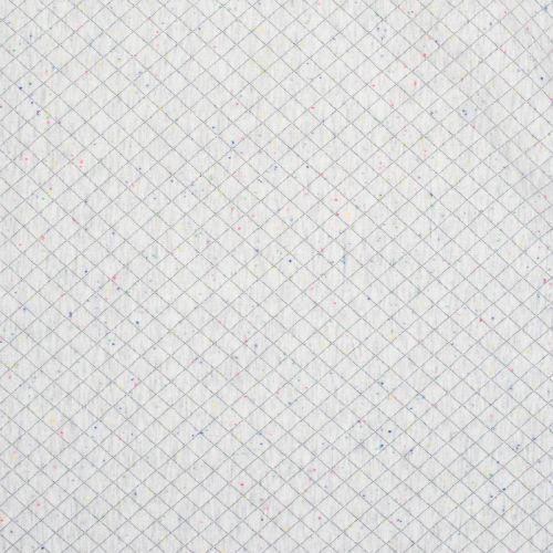 Jersey matelassé blanc grisé chiné multicolore
