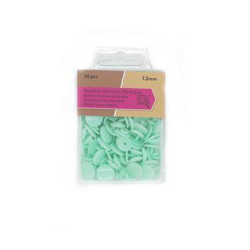 Boutons pression plastique x30 vert menthe